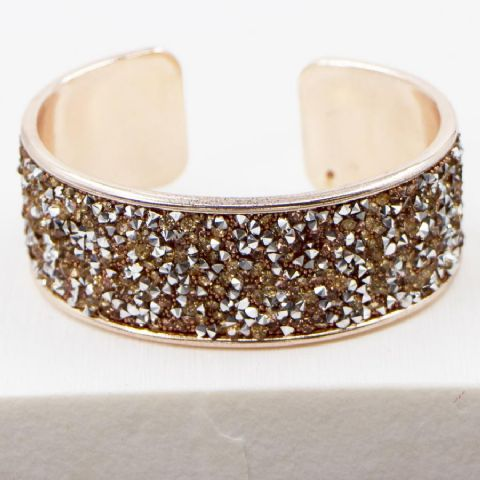 CRYSTAL ENCRUSTED DRESSY OPEN BANGLE ROSE GOLD